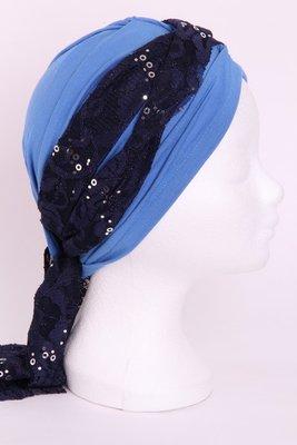 Sjaal SG70 sjaaltje donker blauw met met zilveren pailletjes