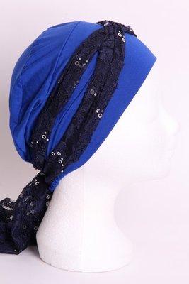 SSG59 Kobalt blauw, sjaaltje donker blauw met zilveren pailletjes