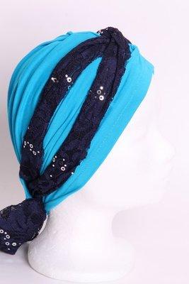 SG77 Turkoois sjaaltje donker blauw met zilveren pailletjes