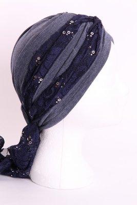 Sjaal SG76 Donker blauw met zilveren pailletjes