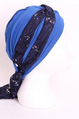 SG79 Kobalt blauw, sjaaltje donker blauw met zilveren pailletjes