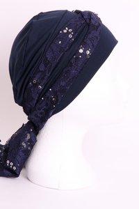 SSG53 Donker Blauw, sjaaltje donker blauw met zilveren pailletjes