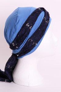 SSG54 Hemels Blauw, sjaaltje donker blauw met zilveren pailletjes