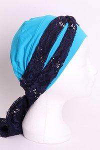 SSG60 Turkoois, sjaaltje donker blauw met zilveren pailletjes